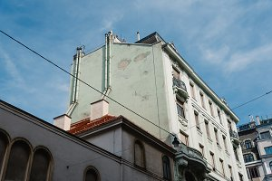 Low angle view of old residential building in Vienna