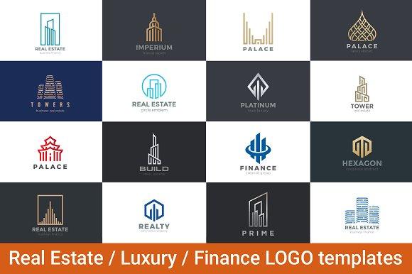 real estate luxury finance logos logo templates creative market