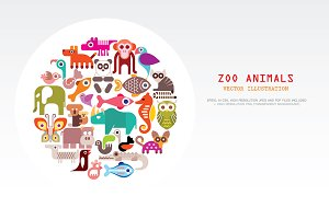 Zoo Animals round shape vector