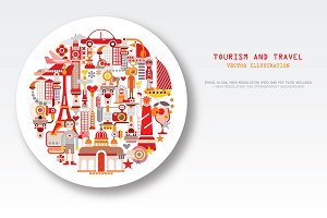 Travel & Tourism round shape vector