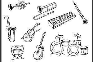 Outline musical instruments