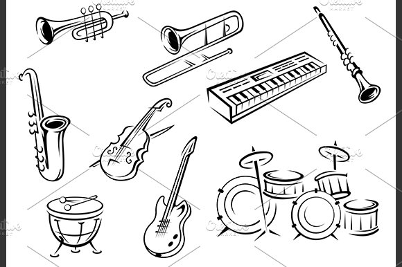 Outline musical instruments ~ Graphics ~ Creative Market