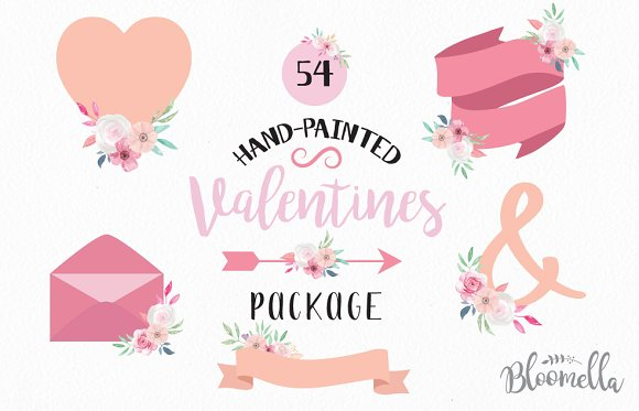 Valentines Clipart Watercolor Kit