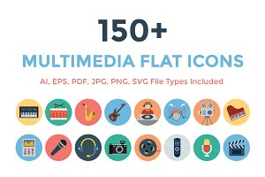 150+ Multimedia Flat Icons