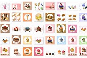 Vector bundle 121 sweet cakes set