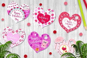 Happy Valentine's Day tags set in the shape of a heart. Labels collection with cute love symbol, romance. Holiday card background templates for your design. Vector illustration