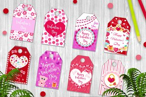 Happy Valentine's Day tags set. Labels collection with heart, cute love symbol, romance. Holiday card background templates for your design. Vector illustration