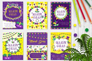 Mardi Gras carnival set poster, invitation, greeting card. ollection templates for your design with mask feathers. Festival, Holiday in New Orleans. Fat Tuesday background. Vector illustration.