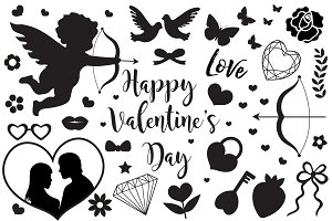 Happy Valentine's Day set of icons stencil black silhouette. Cute romance love collection of design elements with cupid, heart, couple, pigeons, diamond, butterfly, flowers. Vector illustration.