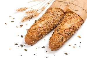 Two bread with mix seed cereales.