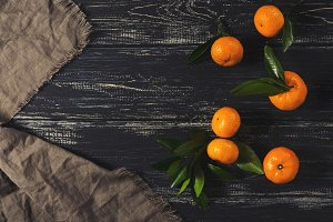 Mandarins on a dark background
