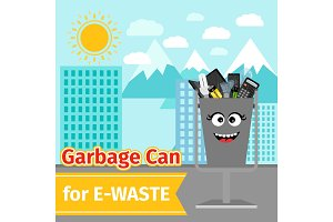 Garbage can with e-waste trash