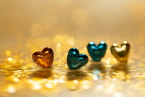 Gold and blue hearts
