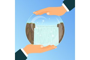 Businessman holding glass bowl with waterfall