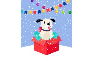 Cute snow puppy in gift box