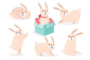 Funny cartoon cute easter bunny set