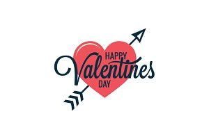Valentines day vintage heart logo