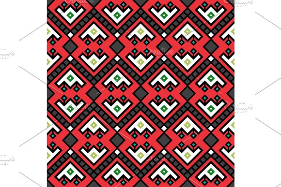 Geometric Tribal Decotarive Pattern In Red