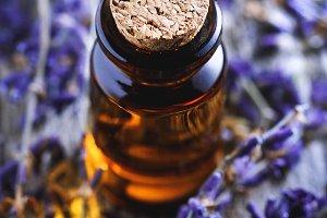 Close-up of lavender oil