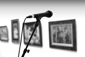 Microphone on stand in museum background