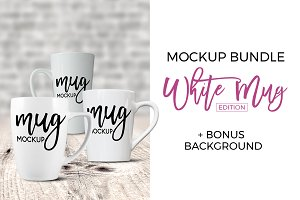 White Mug Bundle - Latte, 14oz, 12oz