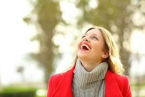 Funny woman laughing