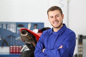 Front view portrait of a mechanic