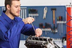 Satisfied mechanic repairing