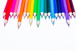 Multicolored pencils of rainbow