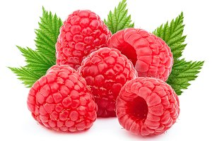 Five raspberries with leaves isolated