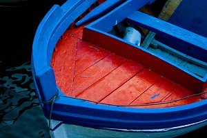 Blue and red Boat