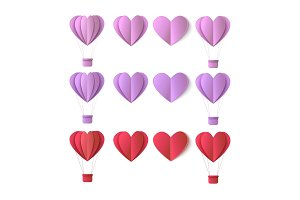 Vector valentines origami heart symbols set