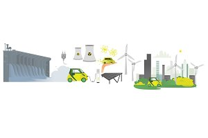 vector flat renewable, alternative energy icon set