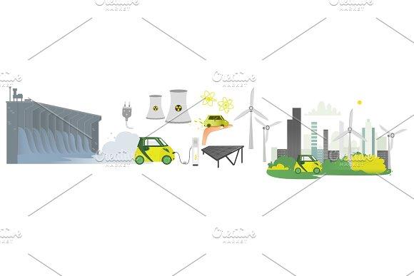 vector flat renewable, alternative energy icon set