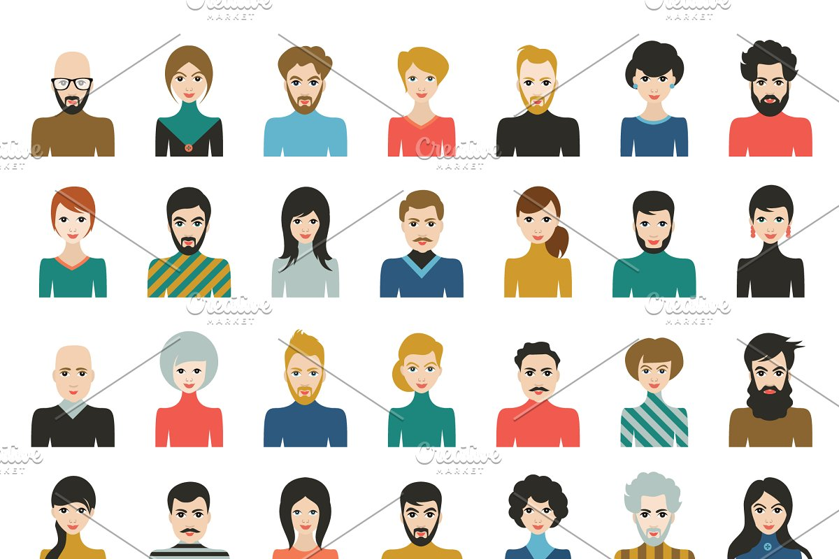 People heads icons. Face avatar.