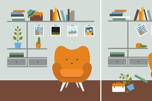 Tidy und untidy room