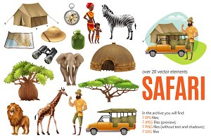 Safari Illustrations Set