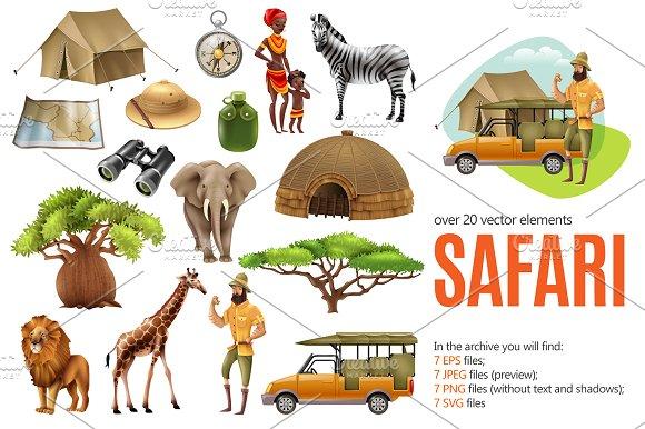 Safari Illustrations Set
