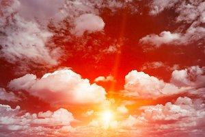 Bright red sunrise