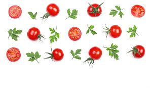 Cherry small tomatoes with parsley leaves isolated on white background with copy space for your text. Top view. Flat lay