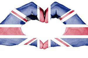 Britain flag on hand
