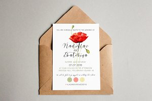 Red Poppy Wedding Invitation
