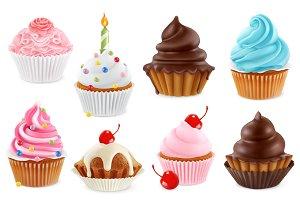 Cupcakes, vector icon set