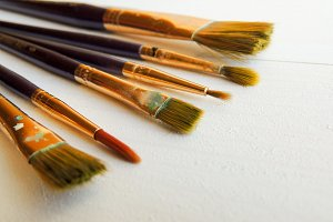 Big variety of paint brushes.