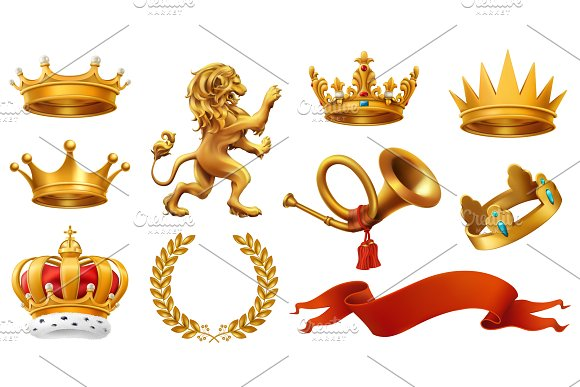 Crowns, coats of arms, flags. Vector