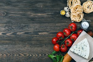 Overhead view of ingredients for an Italian Food