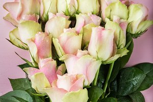 Beautiful bunch of two colored roses