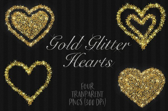 Gold glitter love hearts