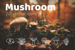 MUSHROOM - vector line icons