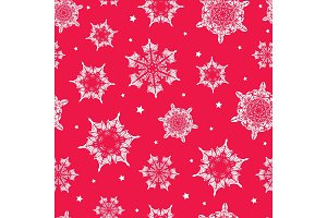 Vector holiday vibrant red hand drawn christmass snowflakes repeat seamless pattern background. Can be used for fabric, wallpaper, stationery, packaging.